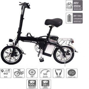 Bicicleta eléctrica plegable con ruedas resistentes