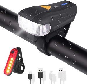 Luz delantera de bicicleta con sensor automático
